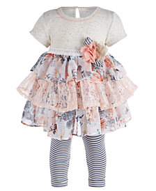 Bonnie Baby Baby Girls 2-Pc. Ruffle Top & Leggings Set