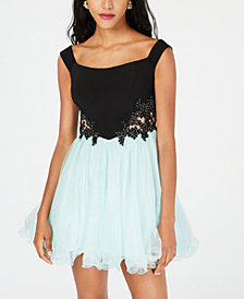 Blondie Nites Juniors' Illusion Rhinestone Appliqué Dress