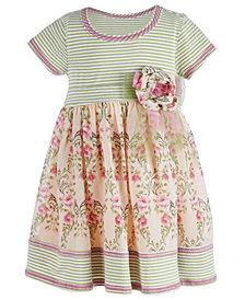 Bonnie Baby Baby Girls Striped Floral Dress