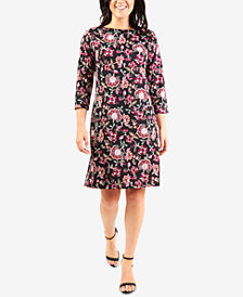 NY Collection Printed Necklace Shift Dress