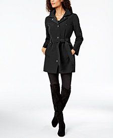 London Fog Belted Hooded Raincoat