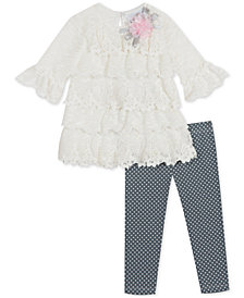 Rare Editions Baby Girls 2-Pc. Ruffled Lace Tunic & Leggings Set