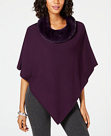 Alfani Petite Faux-Fur-Collar Poncho Sweater, Created for Macy's