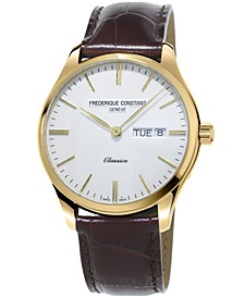Men's Swiss Classic Brown Leather Strap Watch 40mm