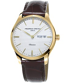 Frederique Constant Men's Swiss Classic Brown Leather Strap Watch 40mm