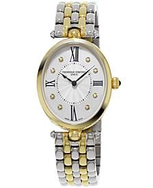 Women's Swiss Art Deco Diamond-Accent Two-Tone Stainless Steel Bracelet Watch 34x28mm