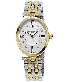 Frederique Constant Women's Swiss Art Deco Diamond-Accent Two-Tone Stainless Steel Bracelet Watch 34x28mm