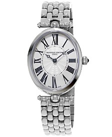 Frederique Constant Women's Swiss Art Deco Stainless Steel Bracelet Watch 30x25mm