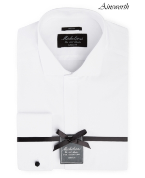 of London Men's Classic/Regular Fit Stretch Solid French Cuff Tuxedo Shirt