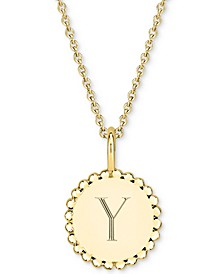 """Initial Medallion Pendant Necklace in 14k Gold-Plated Sterling Silver, 16"""" + 2"""" extender"""