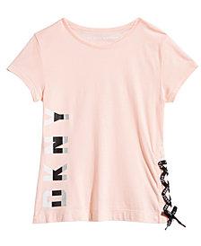 DKNY Big Girls Lace-Up Graphic-Print T-Shirt