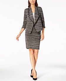 Kasper Textured Knit Flyaway Jacket & Slim Skirt