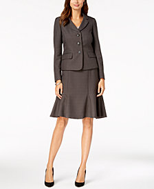Le Suit Three-Button Melenge Skirt Suit