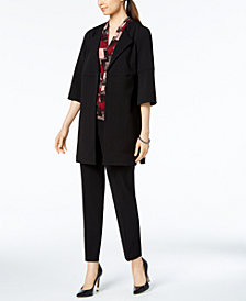 Nine West Wing-Lapel Topper Jacket, Printed Pleat-Neck Shell & Skinny Pants