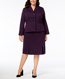 Le Suit Plus Size Three-Button Crosshatched Skirt Suit