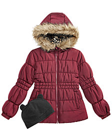 Weather tamer Big Girls  Puffer Coat with Faux Fur Trimmed Hood