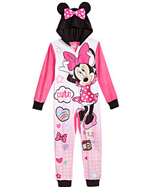 AME Little & Big Girls 1-Pc. Minnie Mouse Hooded Pajamas