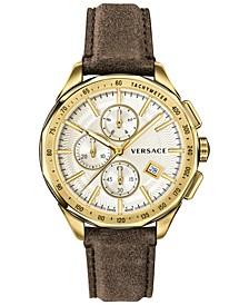 Men's Swiss Chronograph Glaze Brown Vintage Leather Strap Watch 44mm