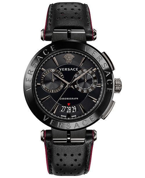 Versace Men's Swiss Chronograph Aion Black Leather Strap Watch 45mm