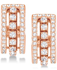 "Rose Gold-Tone Crystal Triple-Row 1/2"" Small Hoop Earrings  s"