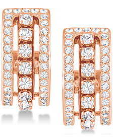 Swarovski Rose Gold-Tone Crystal Triple-Row Hoop Earrings