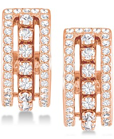 "Swarovski Rose Gold-Tone Crystal Triple-Row 1/2"" Hoop Earrings"