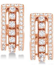 """Swarovski Rose Gold-Tone Crystal Triple-Row 1/2"""" Small Hoop Earrings  s"""