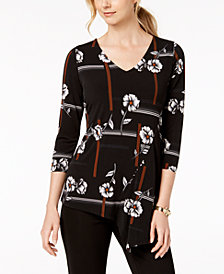 Alfani Petite Printed Asymmetrical V Neck Top, Created for Macy's