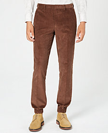 Tallia Men's Slim-Fit Brown Solid Corduroy Jogger Pants