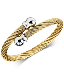 Cable Twist Bangle Bracelet in PVD Gold-Tone Stainless Steel