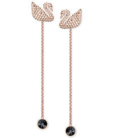 Swarovski Rose Gold-Tone Crystal Swan Ear Jacket Earrings