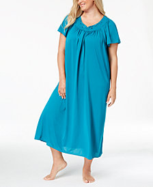 Miss Elaine Plus Size Tricot Flutter Sleeve Long Gown