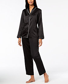 Alfani Piped Shawl-Collar Pajama Set, Created for Macy's