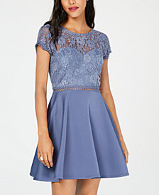 City Studios Juniors' Lace & Scuba Fit & Flare Dress