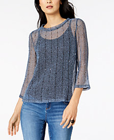 I.N.C. Sequined Open-Knit Illusion Top, Created for Macy's