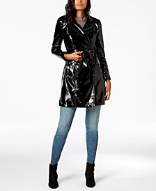 I.N.C. Faux-Leather Trench Coat, Created for Macy's