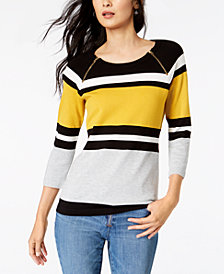 I.N.C. Petite Zip-Detail Striped Sweater, Created for Macy's