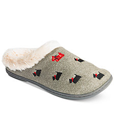 Charter Club Faux-Fur Scottie Dog Slippers, Created for Macy's