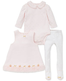 Little Me Baby Girls 3-Pc. Bodysuit, Dress with Faux-Fur Trim & Tights Set