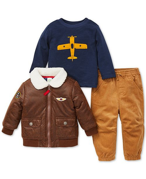Little Me Baby Boys 3-Pc. Aviator Jacket, Top & Pants Set