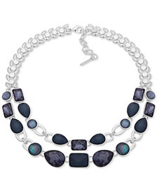 "Nine West Silver-Tone & Stone Double-Row Statement Necklace, 16"" + 2"" extender"