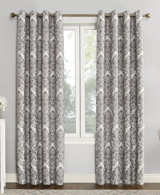 "Courtney 52"" x 95"" Damask Blackout Lined Grommet Curtain Panel"