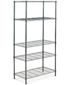 Ceasar 5-Tier Chrome Wire Adjustable Rack, Quick Ship
