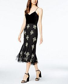 Adrianna Papell Velvet Embellished Shift Dress