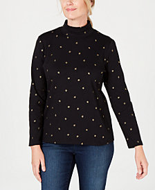 Karen Scott Foil-Print Mock-Neck Top, Created for Macy's