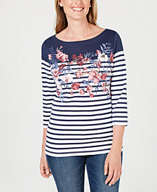 Karen Scott Mixed-Print Studded Top, Created for Macy's