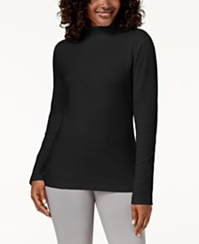 Karen Scott Petite Long-Sleeve Mock-Neck Cotton Top, Created for Macy's