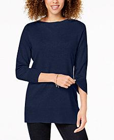 Karen Scott Side-Ribbed Boat-Neck Sweater, Created for Macy's