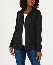 Karen Scott Petite Cotton Open-Front Cardigan, Created for Macy's