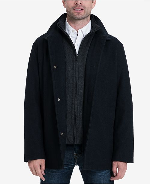 London Fog Men's Wool-Blend Layered Car Coat, Created For